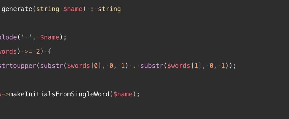 PHP Initials Code Snapshot